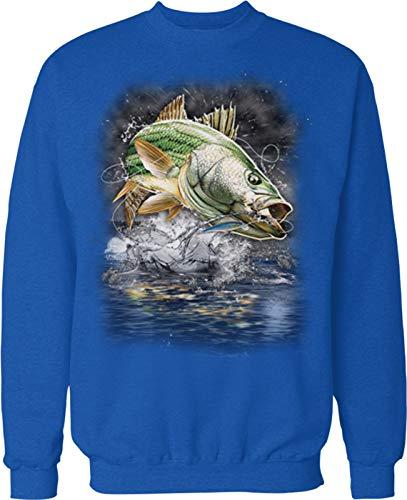Hoodteez Striped Bass, Striper, Eat Sleep Fish Crew Neck Sweatshirt, XL Royal