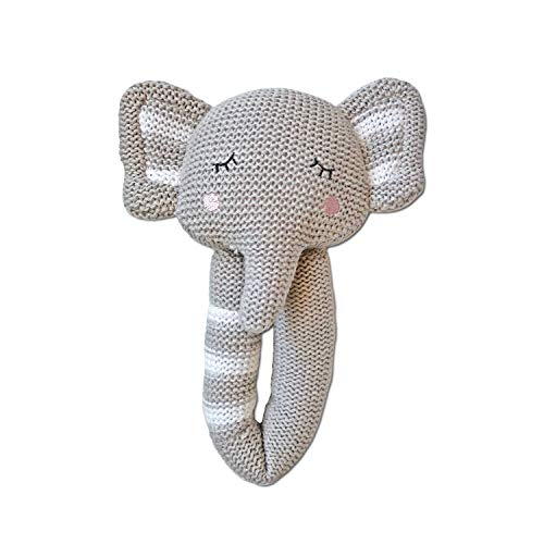 (Living Textiles Cotton Knitted Plush Toy Rattle. Theodore The Elephant Character Toy)
