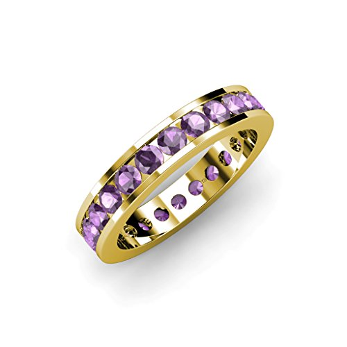 Amethyst Channel Set Eternity Band 1.90 ct tw to 2.30 ct tw in 14K Yellow Gold.size 6.0 Amethyst Channel Set