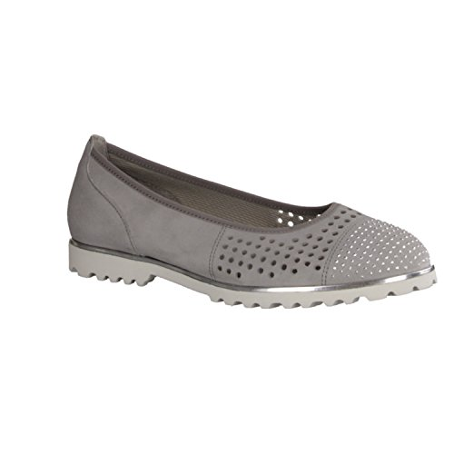 Gabor Women's Ballerina 37.5 38 38.5 39 40 40.5 stone gray Leather Width Grey VDSWh