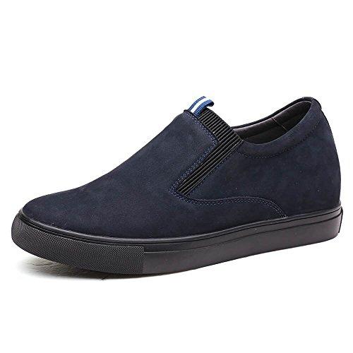 CHAMARIPA Beiläufige Männer-Aufzugs-Schuhe weiche lederne Ferse-Aufzug-Schuhe Beleg-Auf - Schwarz und Weiß - 6 cm erhöhen - L62C26K016D (42, blue)