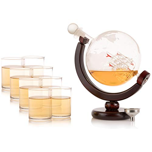 Olivia & Aiden Whiskey Decanter Globe with 8 Shot Glasses (Large 850 mL) World Map Liquor Dispenser | Unique, Vintage, Round | Bourbon, Scotch, Brandy, or Rum by OLIVIA & AIDEN (Image #6)