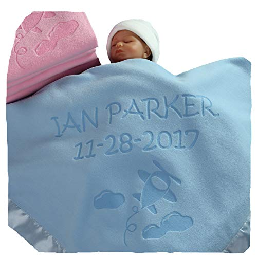 Personalized Airplane Baby Blanket Gifts - Large Custom Blankets, Boy or Girls (Blue, Pink: 2 Text Lines)