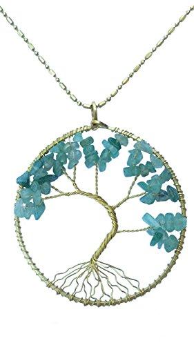 [DEW Drops Simulated Green Aventurine Tree of life Pendant Brass Long Necklace Gemstone Chakra] (Polynesian Girl Costume)