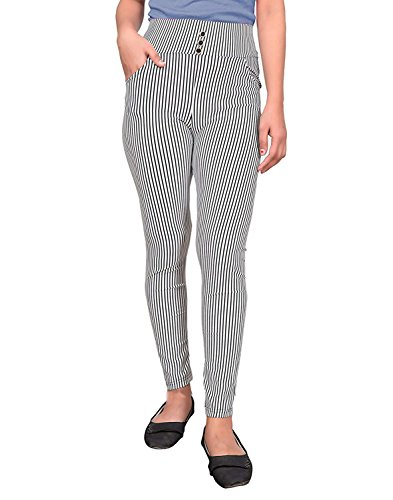 6923b755778 ROOLIUMS® (Brand Factory Outlet Womens Girls Stripes Ankle-Length Jegging  Pant Trousers Women Skinny Elastic Waist Pencil Pants (Best FIT 28-34) ...