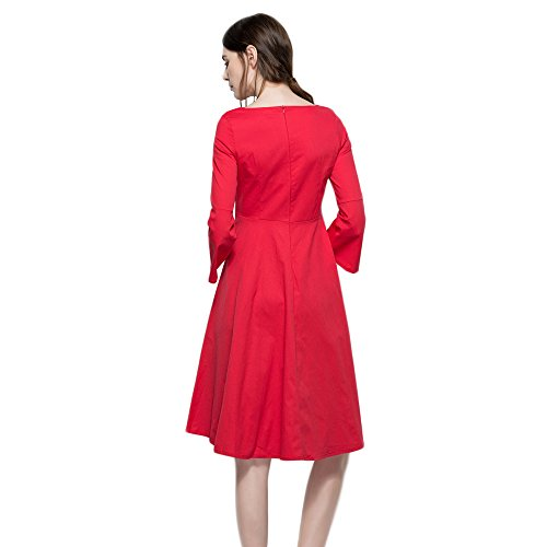 Bohemian CharMma Sleeve Flare Party Tie Women Midi Neck s 4 Red Dress Rockabilly 3 8EArEq0w