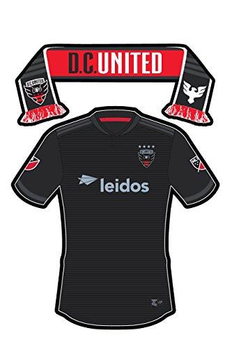 Die Cut Decal United (MLS D.C. United Uniform/Scarf Sticker (Two Stickers in One) - Die-cut, Vinyl, All-weather, Waterproof, Super Adhesive, Outdoor & Indoor Use Sticker. INCLUDES FREE BONUS STICKER.)