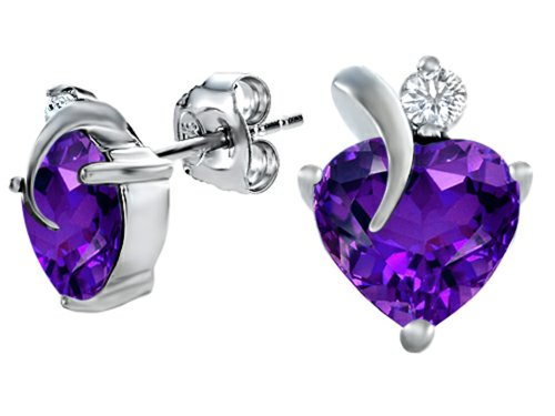 Star K 8mm Heart Shape Simulated Amethyst Heart Earrings Sterling Silver ()