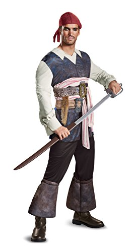 Disney Men's Plus Size POTC5 Captain Jack Sparrow Classic Adult Costume, Brown, X-Large (Jack In The Box Costume Head)