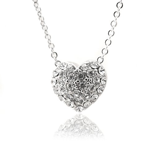 Silver Plated Crystal Pumping Heart Necklace - Style Pave Tiffany