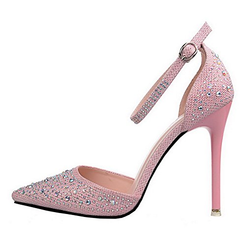 VogueZone009 Women's High-Heels PU Solid Buckle Pointed Closed Toe Pumps-Shoes Pink JQmxvAqDt