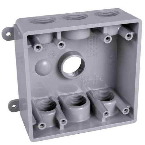 - Hubbell-Bell PDB77550GY Weatherproof Box with 1/2-Inch or 3/4-Inch Outlets, Gray
