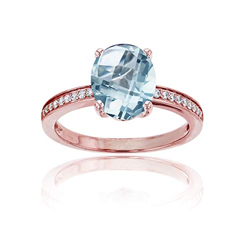 (14K Rose Gold 0.10 CTTW Round Diamond Channel Set & 10x8 Oval Aquamarine Engagement Ring)