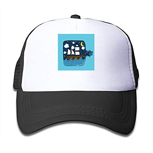 ISEAREX Boys and Girls Hand Drawn Ship in A Bottle Vector Youth Toddler Mesh Hats Baseball Trucker Cap -