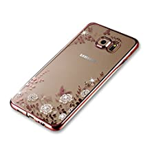 Samsung Galaxy S6 Edge Case [with Free Screen Protector], Funyee Bling Sparkle Rhinestone Electroplate Frame Shockproof Transparent Butterfly Flowers Crystal (Rose Gold) Bumper Silicone TPU Protective Clear Gel Rubber Soft Back Case Cover (White Flower) for Samsung Galaxy S6 Edge