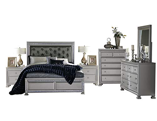 Batavia Hollywood Glam 6PC Bedroom Set Cal King Bed, Dresser, Mirror, 2 Nightstand, Chest in Metallic Grey