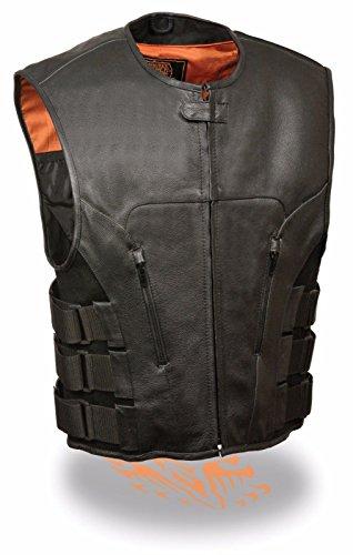 De los hombres moto estilo SWAT chaleco Updated–Chaleco Táctico piel Mantequilla suave nueva Regular), Regular