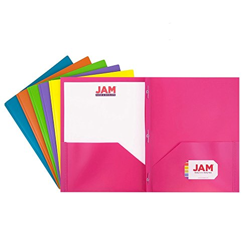 JAM PAPER Plastic 2 Pocket School POP Folders with Metal Prongs Fastener Clasps - Assorted Fashion Colors - 6/pack by JAM Paper