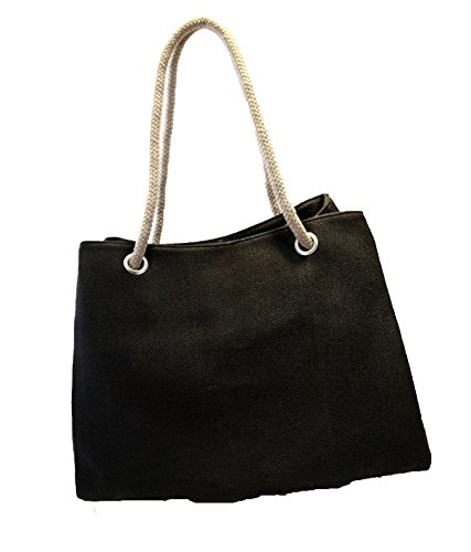 large breathable beach bag 2018 bag cotton Summer linen canvas straw shoulder Black super capacity zAqYSwtq