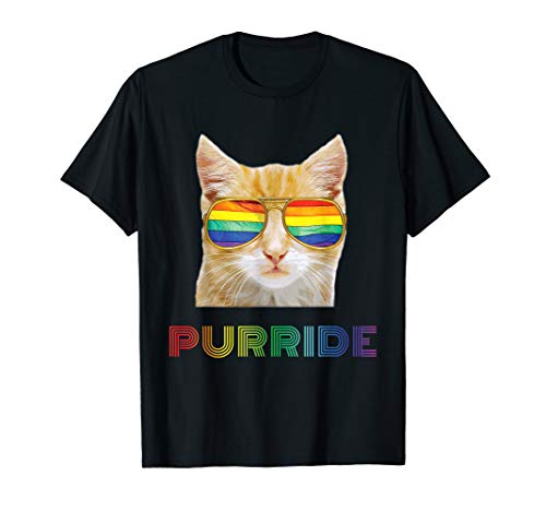 (Gay Pride Shirts for Women Men LGBT Cat Gift Purride Shirt)