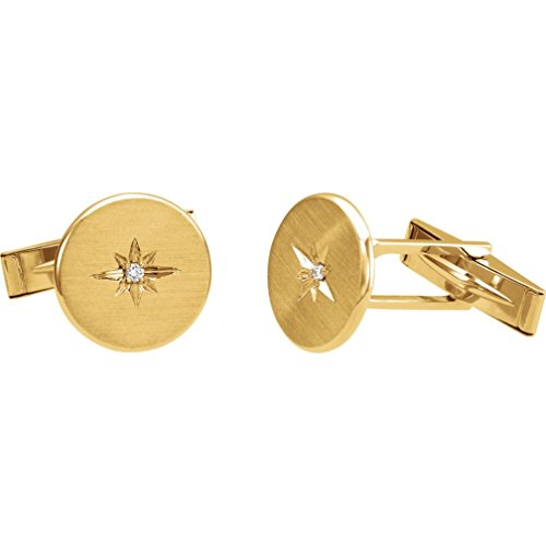 (Diamond Satin-Brushed 14k Yellow Gold Round Cuff Links (.03 Ctw, Color G-H, Clarity I1))