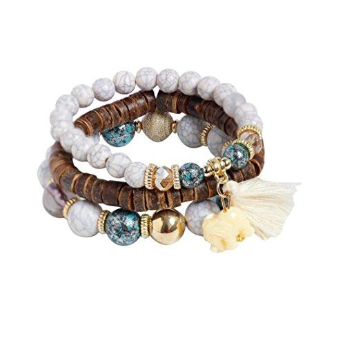 JSPOYOU Fashion Womens Multi-Layer Pearl-Colored Stretch Bracelet Bohemian Lady Bracelet Bangle (White)