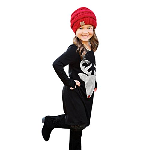 SEXYP Mom&Me Girls Women Christmas Deer Long Sleeve Dress Family Outfits Clothes (Little Man In The Boat Costume)