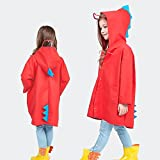 FSYY Rainwear Children's Raincoat Boys and Girls 2-10 years old Yellow Odorless Dinosaur Poncho 3D Modeling Cute Waterproof Light and Breathable (Color : B, Size : L)