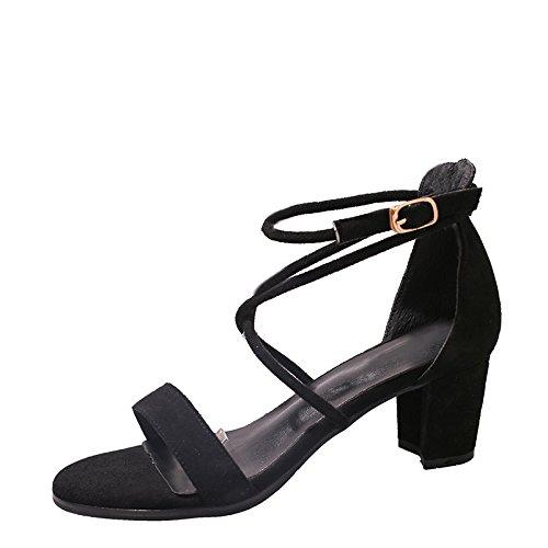 GAOLIM Correa Cruzada De Verano Sandalias Mujeres Gruesas Con Tacón Alto De Correa Ranurada Negro Zapatos De Mujer Negro