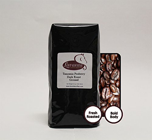 Lavanta Coffee Roasters Tanzania Peaberry Direct Trade Coffee, Dark Ground, 12 oz