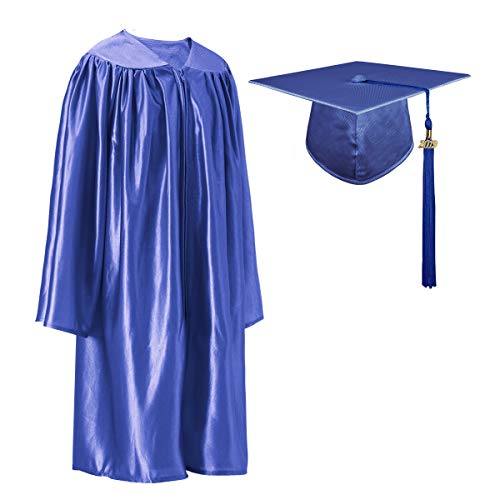 GGS Shiny Kindergarten Graduation Cap and Gown Tassel Set Royal -