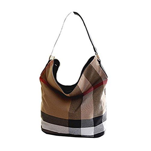 FuweiEncore Bolso del cubo de las mujeres en hombro de la lona de la manera Bolso ocasional del hombro (Color : Negro) Negro
