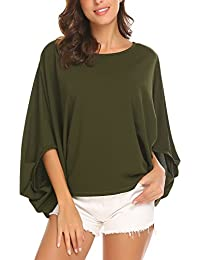 Women's Summer Puff Sleeve Oversized Casual Batwing Dolman Loose Tunic Blouse