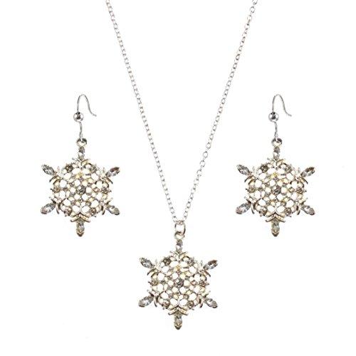 Macy's Holiday Lane Silver-Tone Snowflake Pendant Necklace and Dangle Earring - Macy Lane
