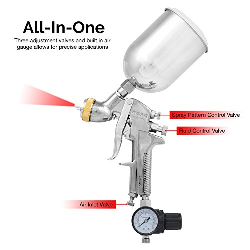 Neiko 31215A HVLP Gravity Feed Air Spray Gun   1.7mm Nozzle Size   600cc Aluminum Cup by Neiko (Image #2)
