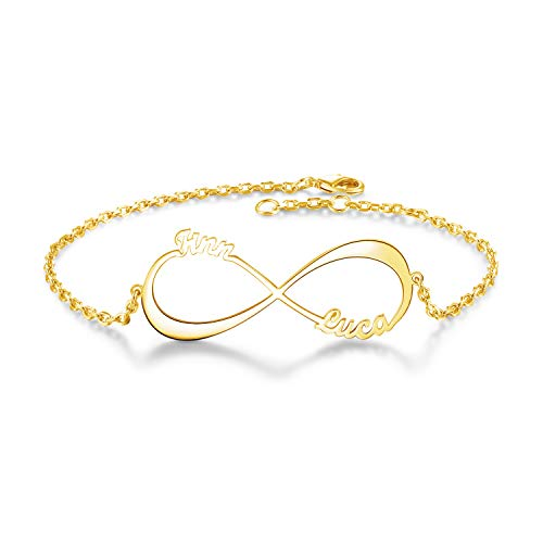 Yoke Style Custom Infinity Name Bracelet Personalized, Customized Engraved Link Bracelet JewelryGift for ()