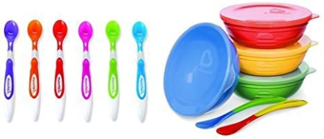 Munchkin Soft Tip Spoons and Love a bowls Bundle Baby Weaning Kit Quality Set