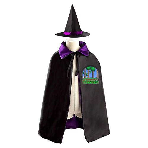 Terraria Costumes Halloween (2017 Terraria Logo Kids Halloween Party Costume Cloak Wizard Witch Cape With Hat)