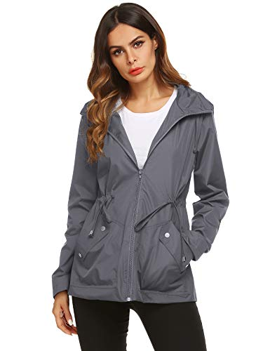 ZHENWEI Active Raincoat,Women Light Watertight Solid Rain Jacket Softshell(Gray,L)