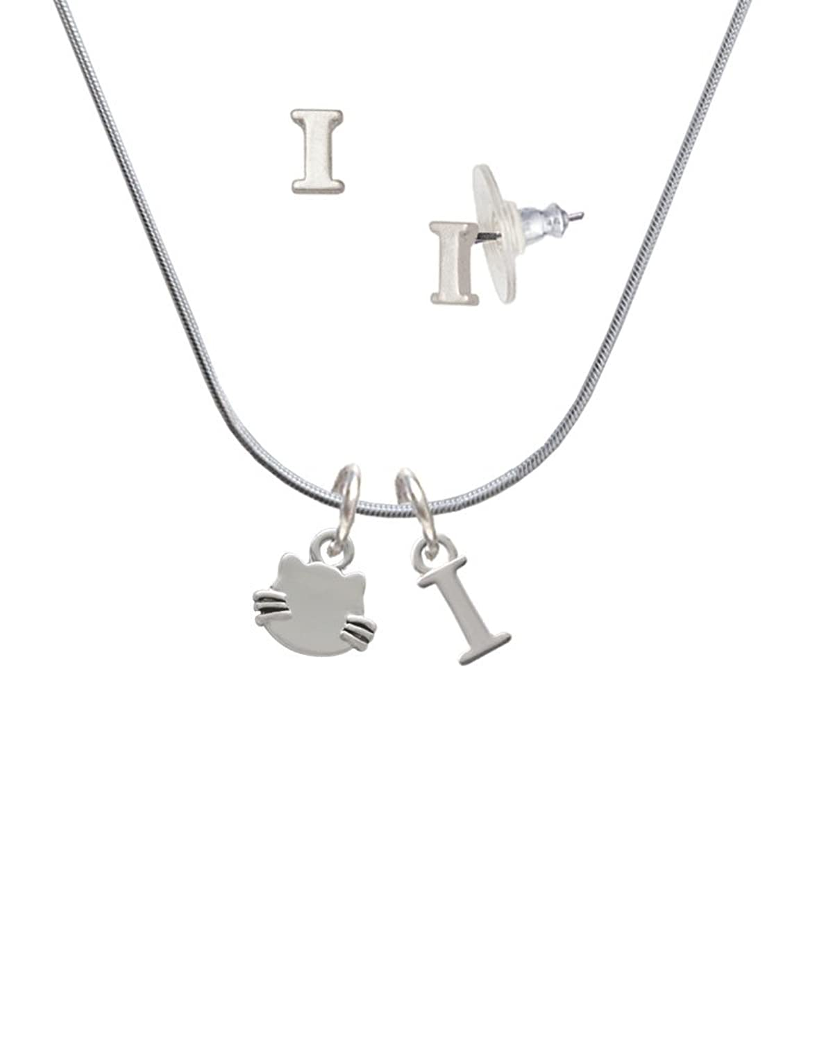 Mini Cat Face with Whiskers - I Initial Charm Necklace and Stud Earrings Jewelry Set