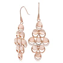Kemstone Rose Gold Opal Chandelier Dangle Earrings Jewelry for Lover