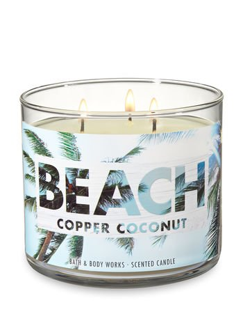 White Barn Bath & Body Works 3 Wick Candle Beach Copper - Wicks Candles Coconut 3