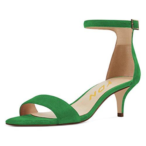 YDN Women Thin Mid Heels Sandals Buckle up Kitten Pumps Ankle Strap Summer Shoes Green 8 - Womens Green Mid Heel