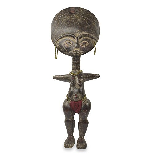 NOVICA 254450 Fante Fertility Doll III' African Wood Sculpture (African Fertility Statue)