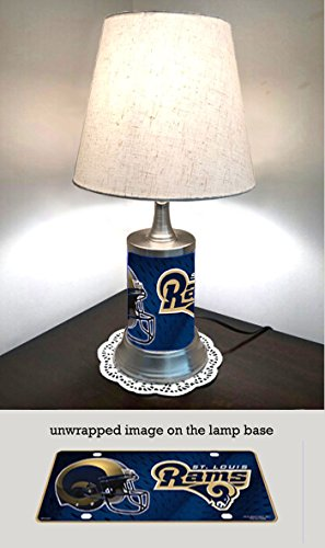 Louis Lamp Rams - JS Table Lamp with Shade, St Louis Rams Plate Rolled in on The lamp Base