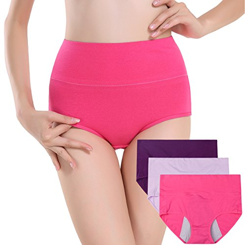 Innersy Women's 3 Pack Ultra Soft Postpartum Menstrual Period Protective Cotton Panties Underwear (Love Yourself First) (M, Solid Color - Plus Pads Poise