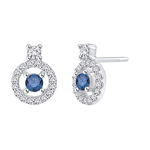 14K White Gold 1/2 ct. Diamond with Blue Center Diamond Earrings