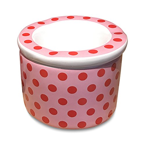 WHW Whole House Worlds Pink Red Polka Dots Outdoor Smokeless Ashtray with Lift Off Lid, 2 Pieces, Pink with Red Polka Dots, Glazed Ceramic, 3 3/4 in Diameter x 2 3/4 Inches Tall