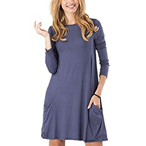 Women's Casual Pockets Plain Simple T-Shirt Tunic Loose Dress