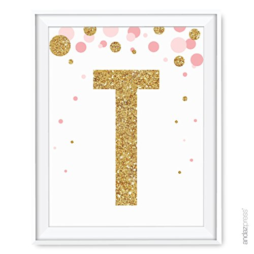 Andaz Press Nursery Wall Art Decor, Pink and Printed Gold Glitter, Letter T, 8.5x11-inch, 1-Pack, Unframed Prints Poster